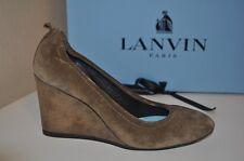 NIB $645+ LANVIN Suede Wedge 75mm Ballerina Pump Shoe Dare Beige 35.5 / 5.5 NEW