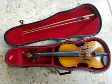 "Vintage 9"" miniature Violin w/ bow Wood music Instrument Model with case box"