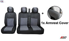 2+1 GREY SOFT FABRIC BLACK SEAT & ARMREST COVERS SET FOR VW VOLKSWAGEN CADDY VAN