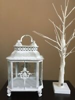 Green with White Wash Shabby-chic Metal Lantern. Vintage Look Home Decor