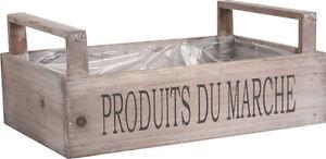 Wooden Crate Rustic French Market Trug Vintage Vegetable Storage Gift Box Hamper