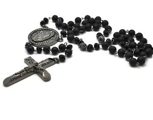 """Black Crystal Pave Cross Rosary Beads Hip Hop Chain Men Necklace 37"""""""