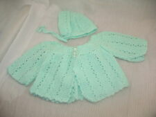 Vintage Handmade Crochet Baby or Large Doll Sweater & Bonnet Mint Green