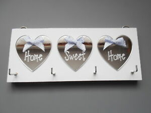 Key Holder Home Sweet Home, White, with Silver mirror hearts