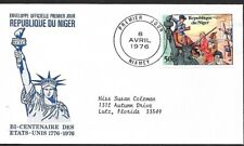 NIGER 1976 FIRST DAY COVER AMERICAN BICENTENNIAL STATUE OF LIBERTY, CALL TO ARMS