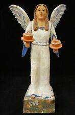 Vintage 1920's Erzgebirge German Wood Carved Angel Candle Holder 14.5