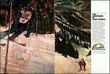 New listing 1982 Downhill Snow Skiing AMF Head Skis Tyrolia Bindings retro art print ad S21