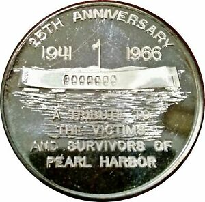1966 PEARL HARBOR 25th ANNIVERSARY MEDAL PENNSYLVANIA SURVIVORS .999 SILVER RARE