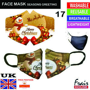 Christmas Face Mask Reusable Breathable Washable Double layer Protection Cover M