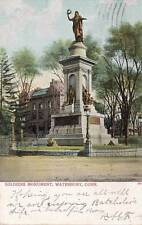 Antique POSTCARD c1907 Soldiers Monument WATERBURY, CT 16863
