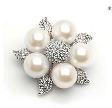 Pearl Flower Wedding Party Brooch Pin Bling Silver Plated Rhinestone and Cream