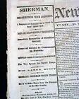 ABRAHAM LINCOLN Funeral at Philadelphia Civil War Ending SHERMAN 1865 Newspaper