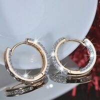 18k yellow white gold made with Swarovski crystal huggies small hoop earrings