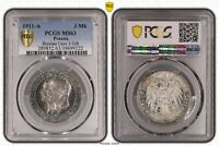 PCGS Germany Prussia 1911 A 3 Mark Breslau Univ Silver Coin Nice Toned MS63