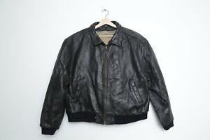 Men's Levi's Black Leather Jacket Coat with detachable down inner waistcoat XL