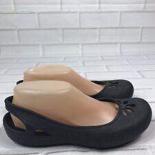 Crocs Women Slingback Ballet Flats Size 8 Black Round Toe Comfort Shoes Dressy