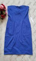 Susana Monaco Topaz Blue Sleeveless Fitted Dress Exposed Pockets New Size M