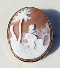 Estate Gold Filled Rebecca At The Well Cameo Pin-Natural Hand Carved Shell
