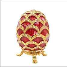 Faberge Russian Egg Vintage Easter Trinket Rhinestone Jewellery Box Legs Decor