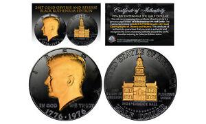 1976 BLACK RUTHENIUM Bicentennial JFK Half Dollar  w/ 24K GOLD features 2-Sided
