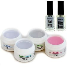 Set for Weak Nails : Pro Reconstruction Gel Adhesive Sealing Cleaner Primer