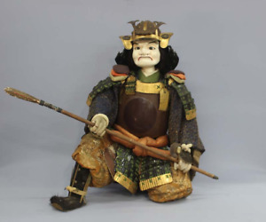 """Japanese Antique Armed Samurai with a Spear Extra Large Doll 30"""" Edo Era"""