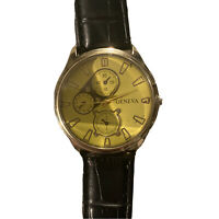 Men's Watch Geneva Yellow Face Black Leather Cloth Band Wristwatch VG*
