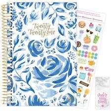 2021 Blue Floral Calendar Year Daily Planner Agenda 12 Month January - December