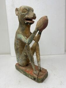 17th C Ancient Wood Painted Fine Sitting Monkey Eating Fruits Rare Old Figurine