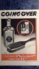 RARE Vintage 1932 JERIS Tonic & Hair Brush Barbershop  Display Color Sign Ad