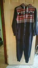 Mens Navy Hooded sleepsuit With Aztec Print Bnwot Size Medium