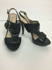 Guess Sandals Sz 6M Whittney Black Open Toe Slingback Heels Party Casual