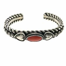 Navajo Daniel Reeves Sterling Silver Coral Heart Bracelet Cuff