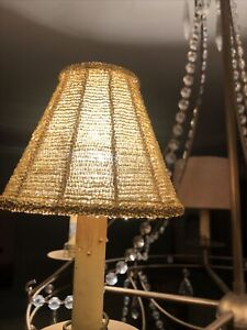 Gold Seed Bead Chandelier Lamp Shades (Lot Of 2) Vintage
