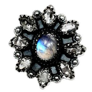 Rainbow Moonstone - India & Herkimer Diamond 925 Silver Ring s.9 BR98818