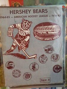 Vintage Hershey Bears American Hockey League Program 1964-65