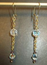 Crystal Pierced Earrings A/B Aurora Borealis Finish NEW Gold Toned