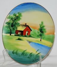 Occupied Japan Hand Painted Decorative Plate with Red House