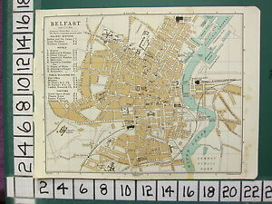 1902 IRELAND TOURIST IRISH MAP BELFAST CITY PLAN STATIONS HOTELS THEATRES etc