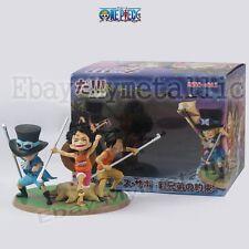 "One Piece Brotherhood Child Luffy Ace Sabo 10cm / 4"" PVC Figure New In Box"