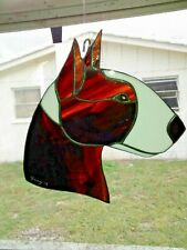 Stained Glass Dog - Bull Terrier - Brindle/White