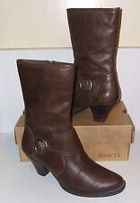 BORN Women's Dark Brown Leather Mid-Calf Fashion Zipper Boots SZ 8.5 M / 40 NICE