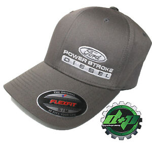 Ford Powerstroke hat ball cap fitted flex fit  flexfit stretch Charcoal S/M