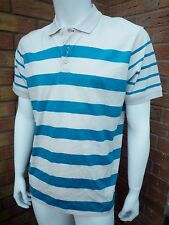 PAUL SMITH CREAM/TURQUOISE BLOCK STRIPE POLO SHIRT BNWT SIZE XL/XXL RETAIL £90