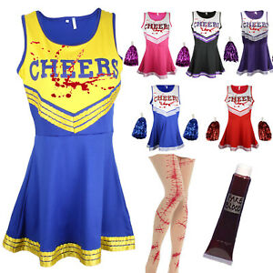 ZOMBIE CHEERLEADER HALLOWEEN FANCY DRESS OUTFIT COSTUME BLOODY SCAR TIGHTS BLOOD