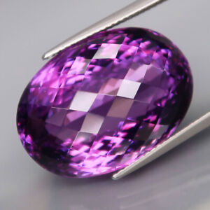 32.62Ct.Real 100%Natural GIANT Amethyst Bolivia None Treatment Oval Checkerboard