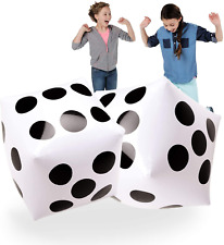 """20"""" Jumbo Inflatable Dice 2 Pcs By Novelty Place, 20 Inch White And Black Giant"""