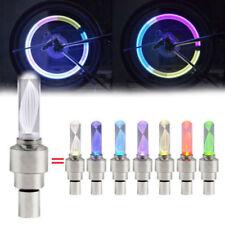 4 Multi Color de led bicicleta auto Motocicleta Rueda Neumático Válvula De Neumático Luces Neón Polvo Tapa