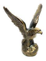 Vintage Brass Eagle on Rock Statue Sculpture Americana Patriotic