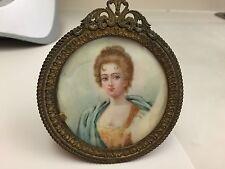 Antique Miniature Portrait Louise Francoise de Bourbon Child Louis XIV w Frame